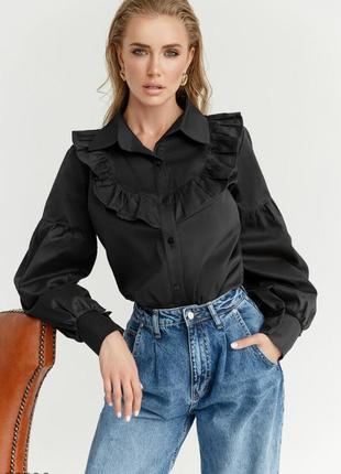 Чёрная хлопковая рубашка