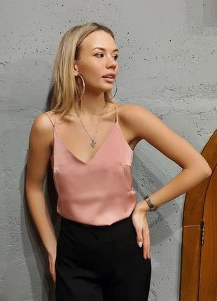 Шелковый розовый топ майка женская шелковая пудра