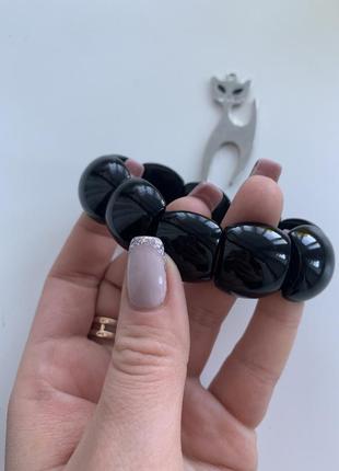 Чёрный широкий браслет