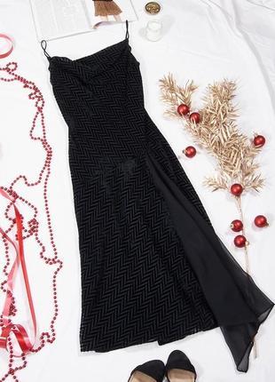Винтажное платье с разрезом, черное пышное платье с тонкими бретельками, сукня