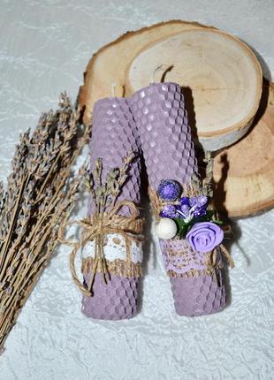 Лавандовые свечи из натуральной вощины ручной работы