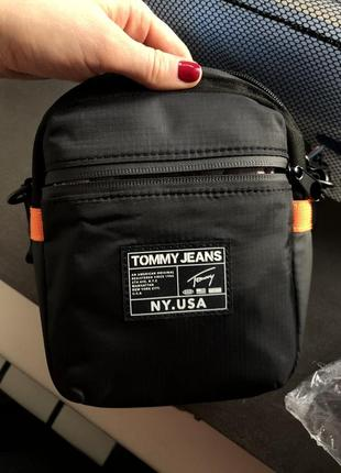 Мужская сумка tommy hilfiger jeans tjm через плечо чёрная