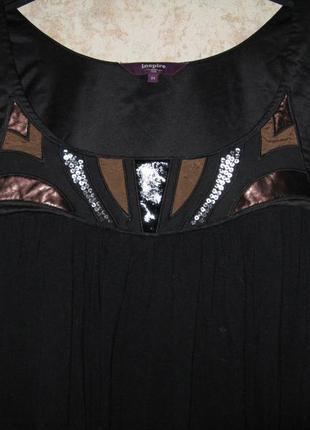 Блуза блузка топ -туника inspire кожа паетки чёрная,большой размер ,батал паетки кожа