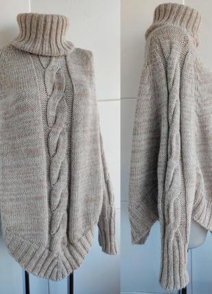 Теплый шерстяной свитер -пончо replay с вязкой косы меланжевого бежевого цвета