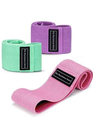 Комплект фитнес резинок эспандеров тканевых набор 3 шт в мешочке/ фитнес-резинка