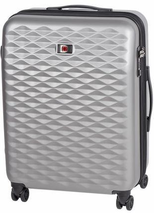 Серый средний пластиковый 4-х колёсный чемодан wenger