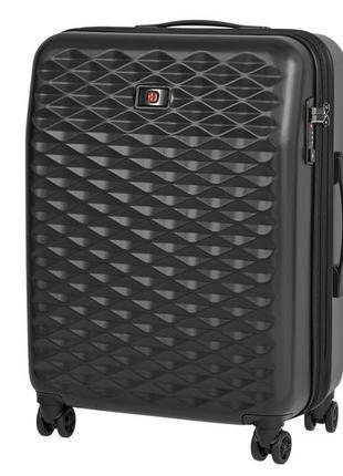 Черный средний пластиковый 4-х колёсный чемодан wenger