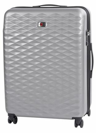 Серый большой пластиковый 4-х колёсный чемодан wenger