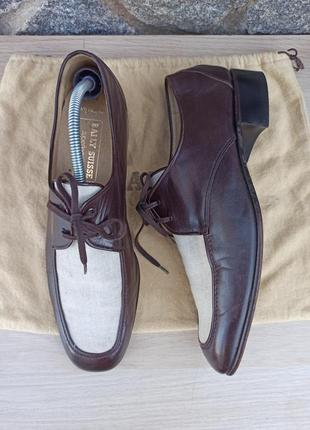 Туфли дерби оксфорды bally оригинал кожа с льняной вставкой пыльник