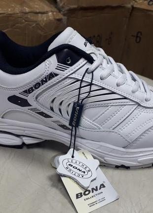 Белые кожаные кроссовки bona (36-41р)