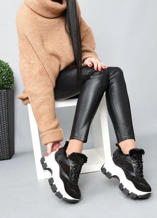 Кожаные зимние кроссовки натуральная кожа на меху