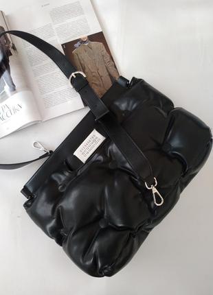 Сумка женская кожаная черная в стиле maison margiela🖤хит продаж