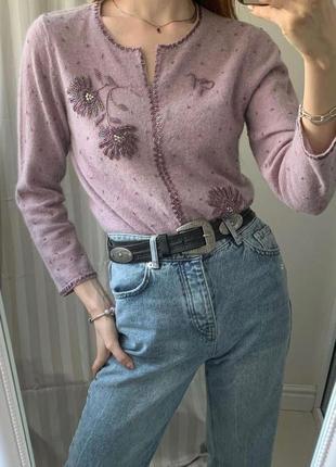 Шикарный сиреневый шерстяной свитер с вышивкой бисером шерсть + ангора s m