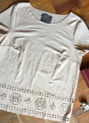 Блуза цвета пудры , под замшу