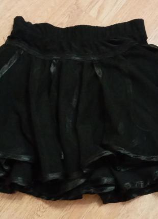 Черная многослойная пышная юбка с трусиками для фигурного катания танцев