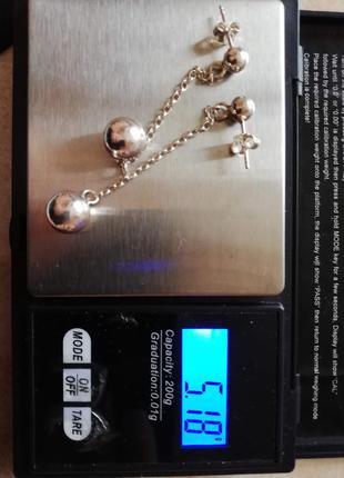 """Серебряные серьги шарики  на цепочке# срібло 925"""" лот 355"""