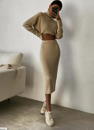 Шикарный тёплый костюм юбка и свитер оверсайз