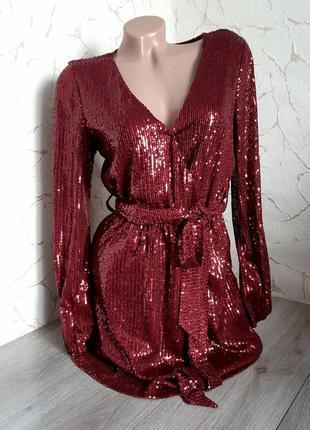 Вечернее платье сукня на запах с пайетками бордовое размер 44