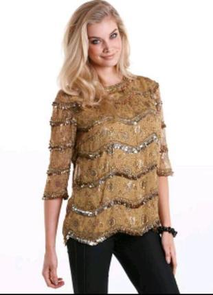 Шикарная нарядная блузка большого размера в пайетку золото,серебро joanna hope