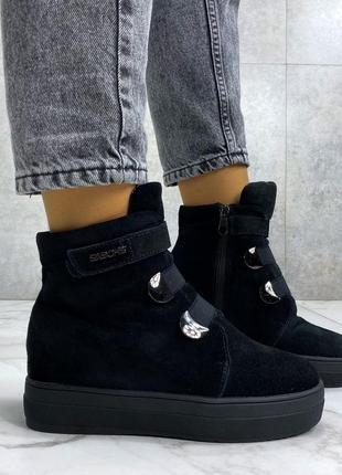 Ботинки mex, зима, натуральная замша, набивная шерсть