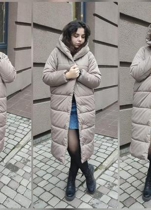 Зимняя длинная куртка курточка одеяло пальто пуховик с капюшоном наполнитель силикон
