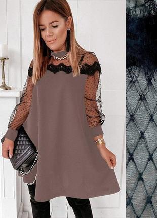 Женское вечернее платье-трапеция с кружевом норма и батал