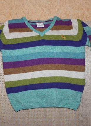 Теплый свитер шерсть, ангора мальчику, девочке 6-7 лет от h&m, англия