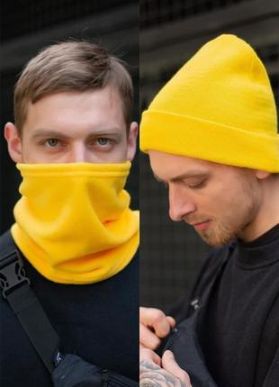 Желтый зимний комплект из шапки бини и баффа without
