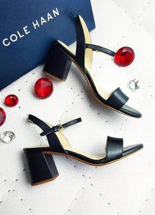 Cole haan оригинал черные кожаные босоножки на широком каблуке