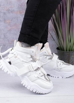Кроссовки зимние кроссы теплые тёплые теплі зимові кросівки с ремешком крутые трендовые