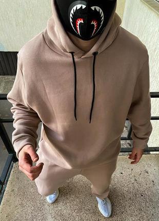 Спортивный костюм теплый оверсайз бежевого цвета