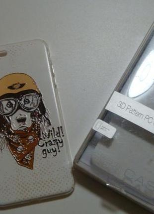 Чехол для iphone 7 +. собака-пес-байкер,новый в упаковке. акция4=5