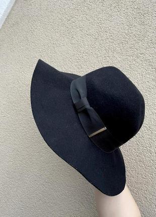 Шерстяная черная шляпа с широкими полями, h&m