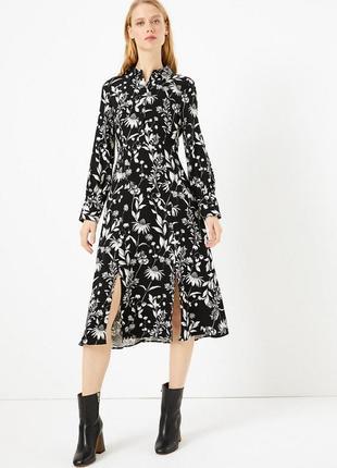 Платье-рубашка миди из плотной вискозы