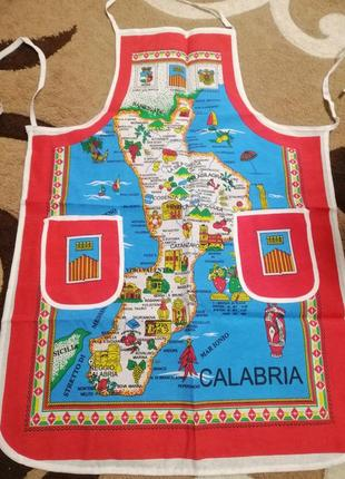 Фартук с картой  калабрии. италия
