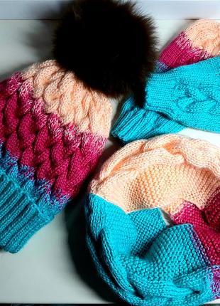 Шапка хомут рукавички