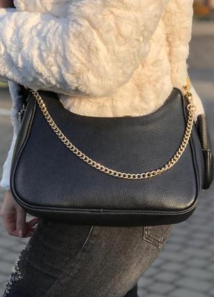 Кожаная сумка кроссбоди чёрная с широким текстильным ремнём италия