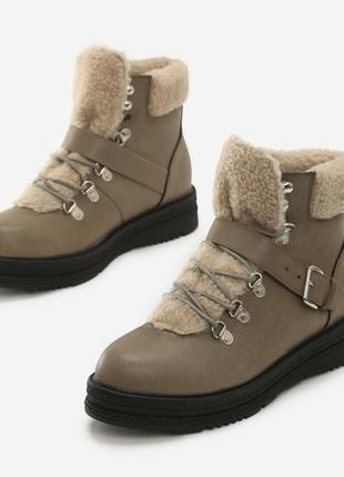 Распродажа! нереальные ботинки толстая подошва с мехом трендовые зима осень