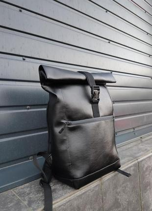 Кожаный рюкзак с экокожи роллтоп ролтоп rolltop мужской женский
