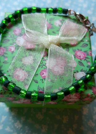 Браслет ручн раб зелён бохо стил салат яркий hand mad бижутер бисер дерев