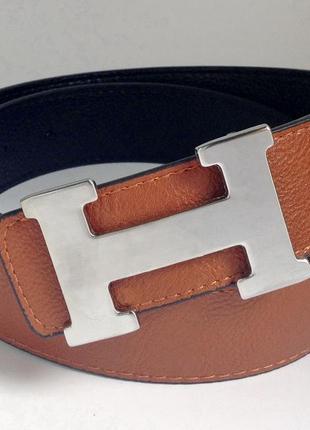 Ремень двухсторонний светло коричневый в стиле hermes 4см стальная серебряная пряжка