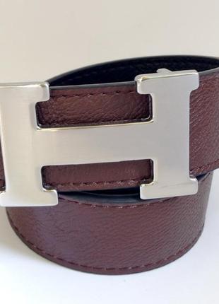 В наличии ремень двухсторонний темно коричневый hermes 4см стальная серебряная пряжка
