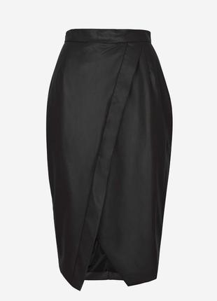 Актуальная миди юбка кожзам карандаш на запах №112