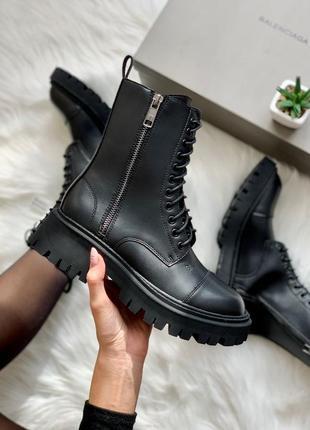 Sale! balenciaga tractor matte (матовые)  женские кожаные ботинки демисезонные
