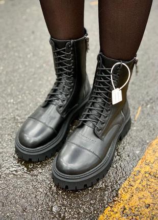 Balenciaga tractor fur (матовые/мех) женские кожаные зимние ботинки черного цвета