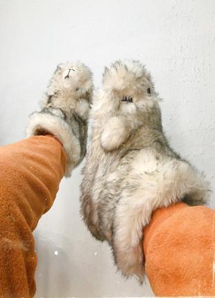 Тёплые тапочки на овчине, с твёрдой подошвой