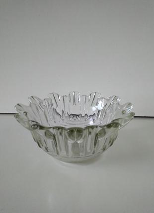 Ваза вазочка пиала креманка ажурное стекло ретро винтаж ссср