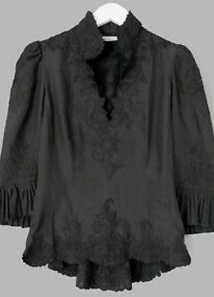Шикарная блузка с шитьем, натуральный шелк,karen millen