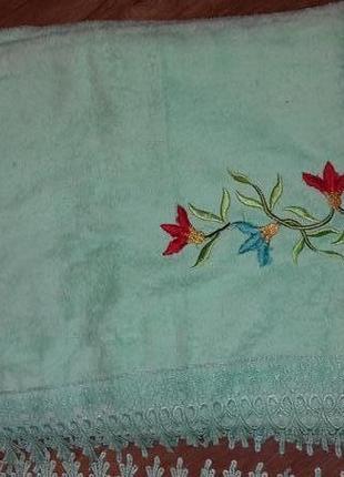 Огромное махровое полотенце для сауны бани с кружевом 160*100