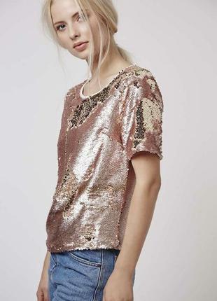 Шикарная нарядная,вечерняя  блузка чешуя ,пайетки topshop